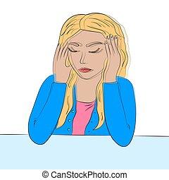 headache., szenvedés, leány