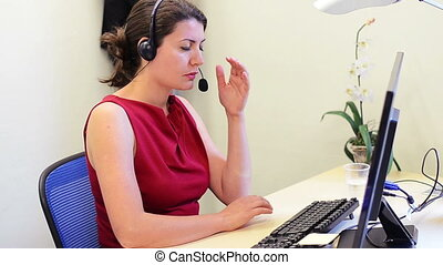 Headache - Tired Business Woman at her office having a...