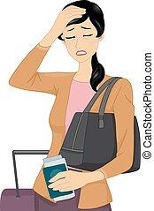 Headache Travel - Illustration of a Female Traveler Having a...