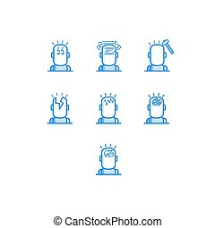 Headache types outline icons set - various symbols of human head with different pain.