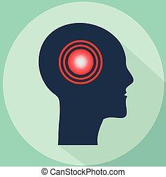 Headache vector illustration. Pain in shape of human head -...