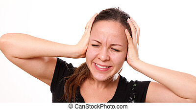Headache - Woman with headache with pain expression on his...