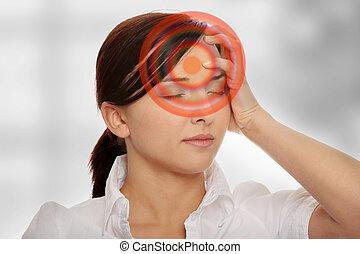Headache - Young business woman with headache