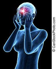 Headache/megrim - Illustration of a woman having a megrim