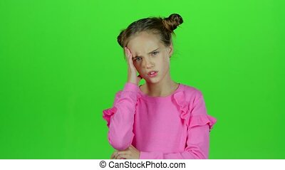 headaches., écran, sévère, souffrance, vert, bébé