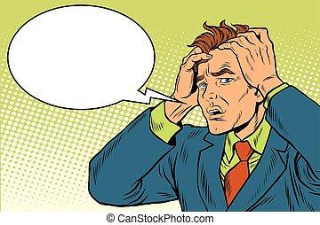 Headaches men severe pain. Pop art retro vector illustration. Medicine and health care. The symptoms of the disease
