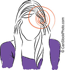 headaches woman illustration