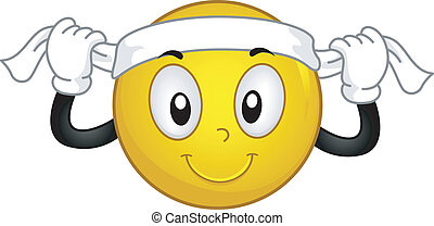 Illustration of a Smiley Putting a Headband on