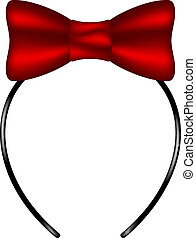Headband with bow in red design on white background