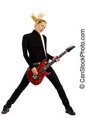 headbanging rock girl playing her electrig guitar