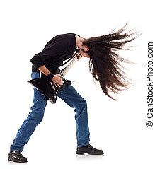 headbanging rocker plays guitar on a white background