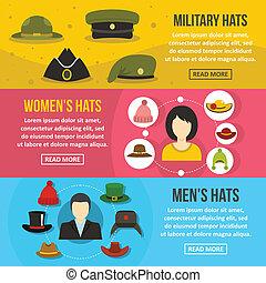Headdress hat banner horizontal set, flat style