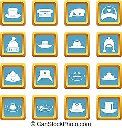 Headdress hat icons azure
