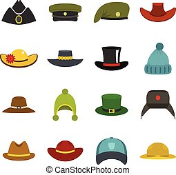 Headdress hat icons set in flat style isolated vector...