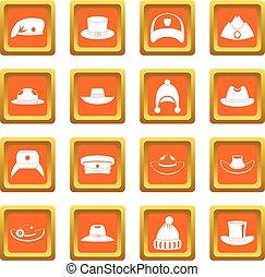 Headdress hat icons set orange