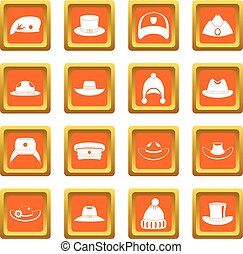 Headdress hat icons set orange