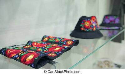 Headdress in The Boutique - Hats Iie On a Glass Shelf in The...