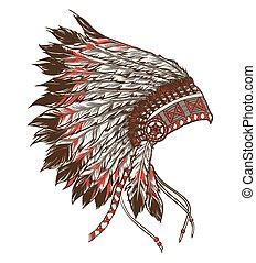 headdress., indiaans amerikaan, illustratie, leider, vector...