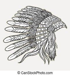 headdress., styl, wektor, amerykanka, ilustracja, szef, indianin, czarnoskóry, biały, krajowiec