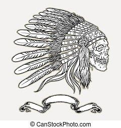 headdress., style, indien, crâne, américain, illustration, chef, vecteur, noir, blanc, indigène