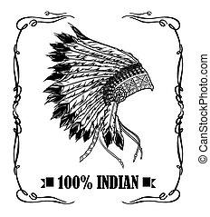headdress., ve, アメリカ人, ラベル, ウイスキー, 責任者, indian, ネイティブ, design.