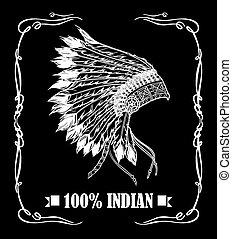 headdress., ve, amerykanka, etykieta, whisky, szef, indianin, krajowiec, design.