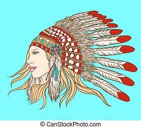headdress., vector, illustration., joven, jefe, indio, niña ...