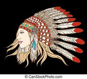 headdress., wektor, illustration., młody, szef, indianin, ...