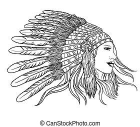 headdress., wektor, illustration., młody, szef, indianin,...