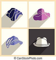 Headdresses for women set of flat icons with shadow. Vector illustration