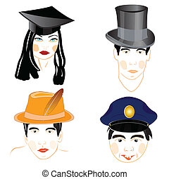 headdresses, personen, mensen