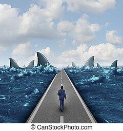 Headed For Danger - Headed for danger business concept as a ...