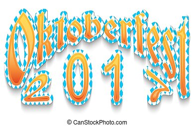Header Oktoberfest 2017. Yellow inscription on blue with white pattern isolated on white background.