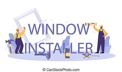 header., porta, profissional, tipográfico, instalador, janela