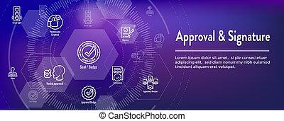 header, set, handtekening, goedkeuring, pictogram, web, ...