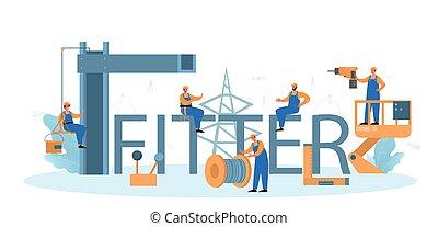header., tipográfico, trabalhador, uniforme, construções, instalar, ajustador