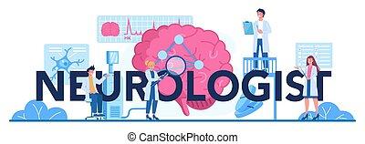 header., typografiska, mänsklig, neurologen, läkare, undersöka, hjärna