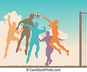 Header - Colorful editable vector silhouette of a footballer...