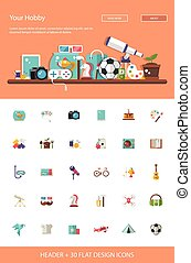 Header with modern flat design hobby icons and infographics...