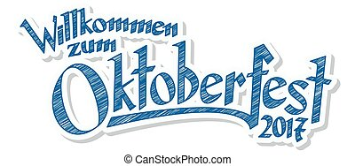 Header with text Oktoberfest 2017 - blue and white header...