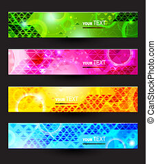 Headers set of four color banners of the abstract