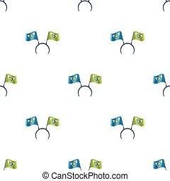 Headgear fan with flags. Fans single icon in cartoon style vector symbol stock illustration.