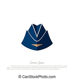Headgear stewardess civil aircraft. Drawing in a flat style on a white background