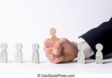 headhunter, concept, hulpbron, work., mensen, personeel, ontslag, binnen, zoeken, zakenman, verhuring, team., selectie, specialists., menselijk, nieuw, management, werknemers, management.