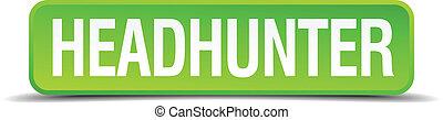 headhunter, plein, knoop, vrijstaand, realistisch, groene, 3d