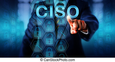 Headhunter pushing CISO on touch screen. Technology career concept for C-level management executive position of Chief Information Security Officer. Responsible for overall security of organizations.