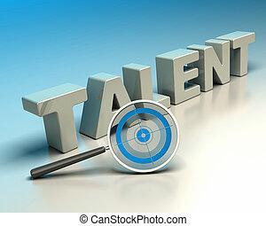 headhunter, recruitment concept - Word talent written with...