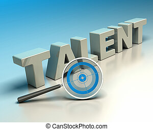 Word talent written with 3d letters onto a blue and beige background with a magnifier including a blue target symbol of headhunter
