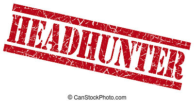 headhunter red grungy stamp on white background