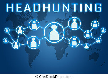 Headhunting concept on blue background with world map and social icons.